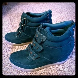 Studded faux suede wedge sneakers